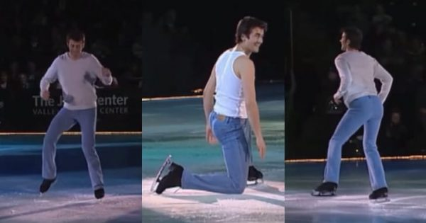Hunky skater takes position on the ice – then 80s hit starts playing and the crowd totally goes wild