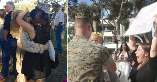 Soldier finally comes home—Moment he hugs wife, she says she needs to go to the hospital