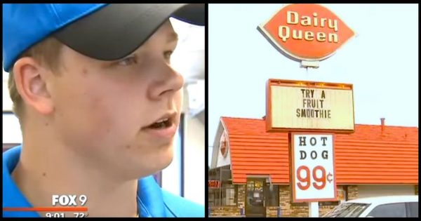 Blind man drops $20 at dairy queen, then teen cashier sees woman behind him slip it in her purse..