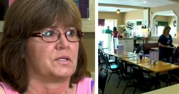 Waitress sees customer running to bathroom – 15 seconds later, she comes out waving hands in frantic