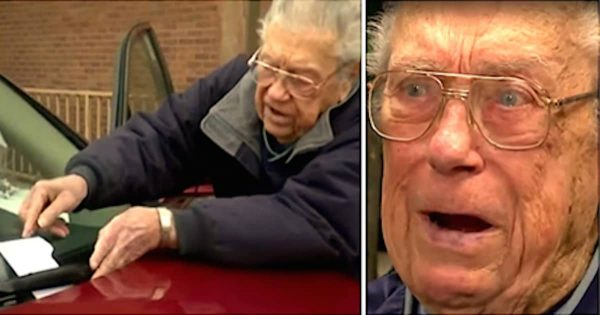 88-yr-old veteran finds note on windshield, breaks into tears when he reads stranger's message about his service