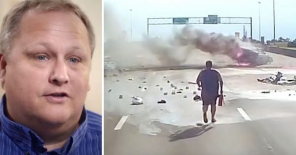 Trucker jumps out running towards terrifying highway crash, then his dash cam catches a true miracle