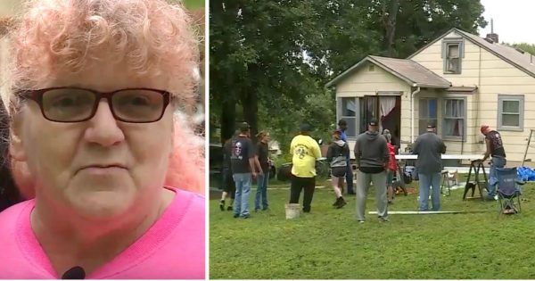 Widowed grandma hears noise outside home, opens door to find dozens of strangers working to change her life
