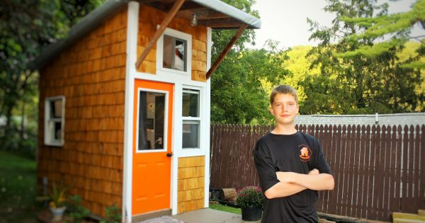 13-yr-old builds his very own tiny house in his parents' backyard. Look inside to see how he lives