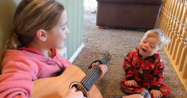 "Boy with Down Syndrome only knows 12 words. His reaction when sister begins to sing ""You Are My Sunshine"" is bringing everyone to tears"