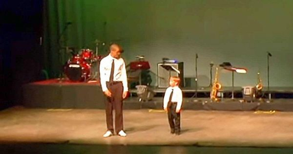 4-yr-old boy steps on stage with professional dancer – Moment they start moving their feet, crowd is left speechless