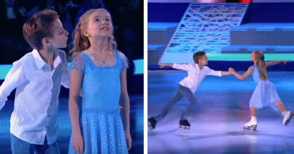 Crowd giggles when boy sneaks a kiss only to be left in tears when young duo starts skating to 'Hallelujah'