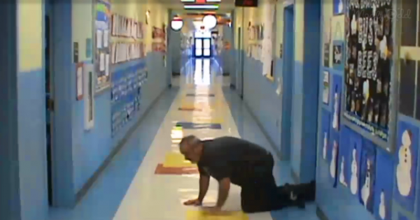 School closed due to snowstorm – then cameras capture the principal's hysterical antics when everyone's gone