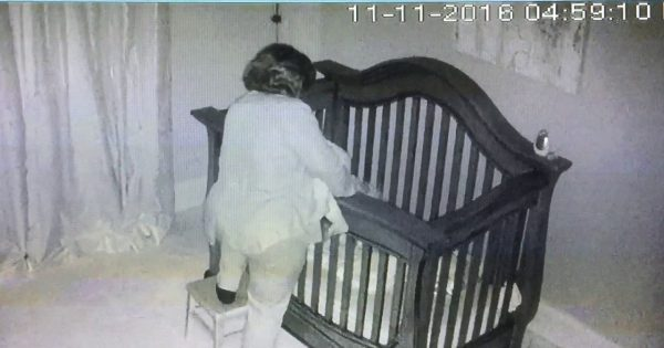 Short grandma tries to put baby into crib – footage of her falling miserably goes viral