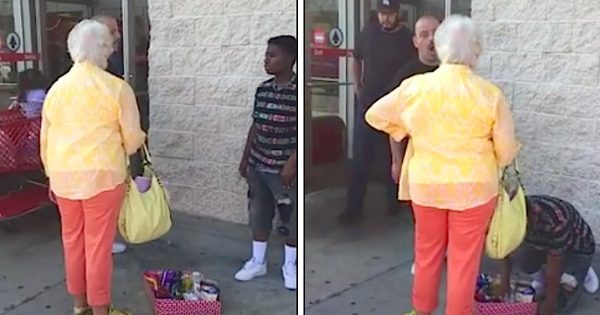 Mean woman yells at boy for selling candy outside Target – until a stranger has had enough & puts her in her place