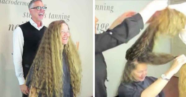Woman kept her hair long for 20 years – now watch when she sees her reflection after a dramatic transformation