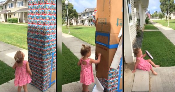 Military dad sends little girl huge box of cookies – she's stunned when it starts to move