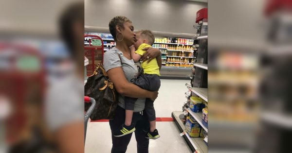 Stranger at Target walks up to toddler and holds him – but mom couldn't be more grateful for her gesture