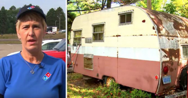 Woman delivers pizza to a rundown trailer only to open door and make a heartbreaking discovery
