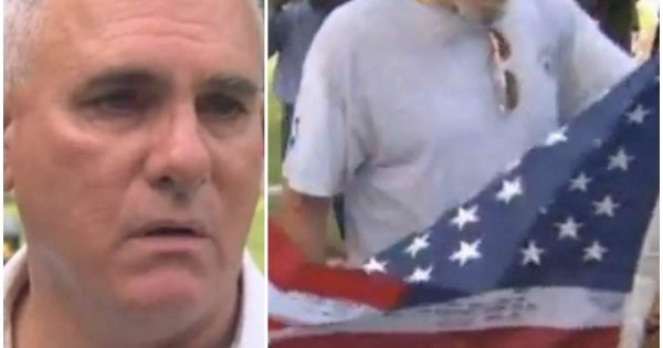 Man finds $5 flag at flea market, closer look at the writing on white stripes makes his heart drop