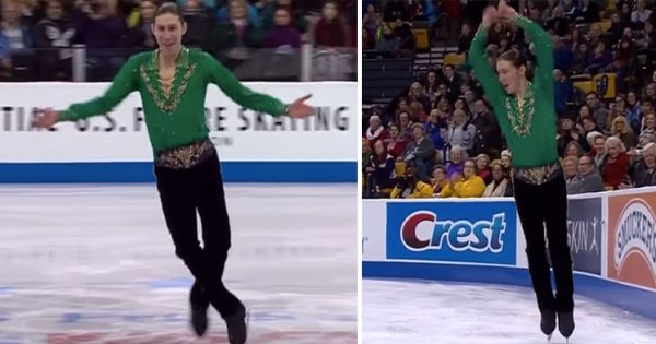 19-yr-old figure skater dances to Riverdance: Seconds later, crowd goes crazy when the music changes tempo