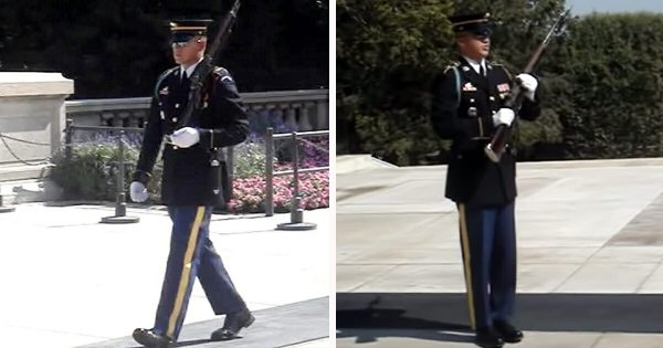 Rude crowd laughs at Tomb of the Unknowns memorial, until camera catches soldier teaching them a lesson