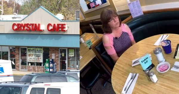 Waitress sees customer running for bathroom – Seconds later, she returns waving hands in panic