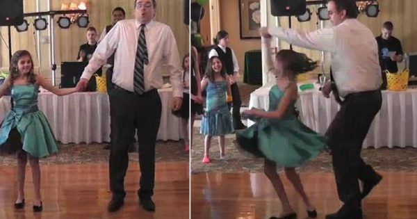 Dad and daughter step on dance floor – surprise the guests with hilarious dance routine that's going viral