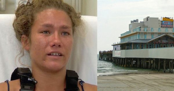 Teen waitress breaks back and foot jumping off pier to save boy when no one else will