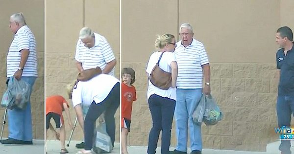 89-yr-old WW II veteran drops his groceries – struggling mom cries when she realizes he tricked her