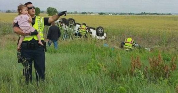 Dad dies instantly in car crash, so police officer comforts distraught 2-year-old daughter by singing