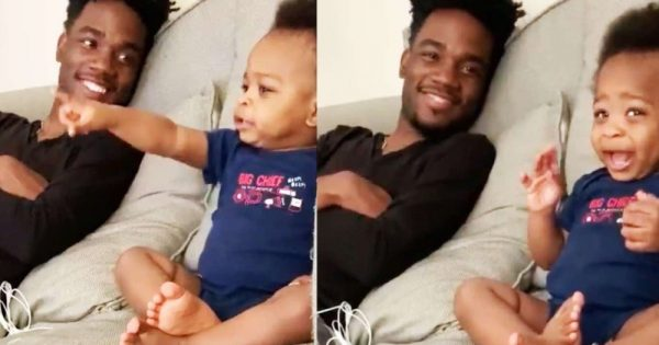 Video of a 1-year-old toddler having a hilarious full-on conversation with dad is loved and shared by millions