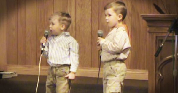 2 brothers step up to the front of the church and wow with classic Easter hymn 'He Arose'