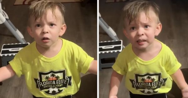 Mom leaves to work without kissing toddler, then he throws hilarious tantrum