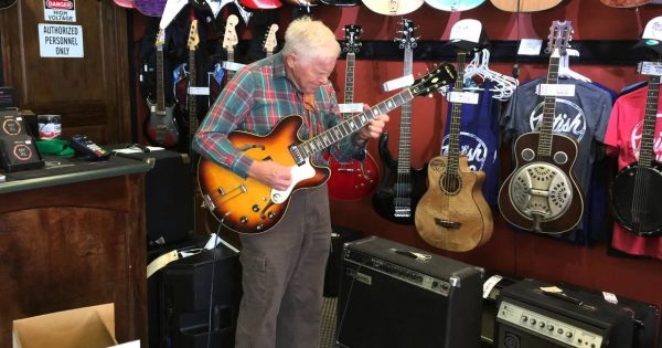 81-year-old man walks into store, plugs in electric guitar and gives staff something to remember for a long time
