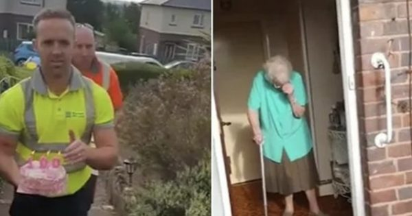 Garbage collector surprises lonely elderly woman with a 100th birthday cake – leaving her overwhelmed with joy