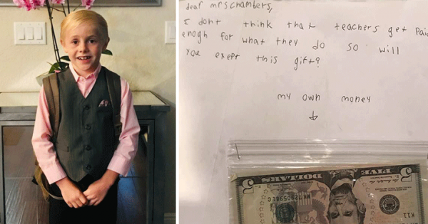 9-year-old student gives teacher his birthday money because her salary is too low