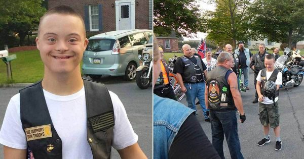16 bikers escort student with Down syndrome to protect him on his first day of high school
