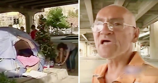 Strangers stands up for heartbroken homeless man after city takes away his Christmas tree