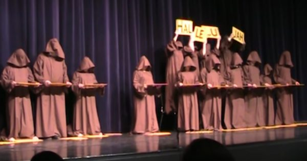 Group of 'silent monks' line up on stage, leave audience in stitches with their unique version of 'Hallelujah'
