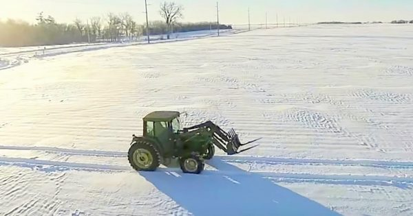 Farmer drives tractor for hours to create beautiful holiday message in snow