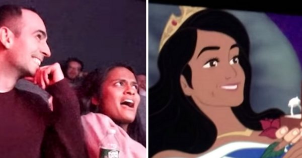 Man secretly turns his girlfriend's favorite Disney movie into an epic marriage proposal