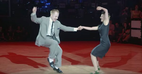 Couple's swing dance routine to 'Dirty Dancing' has audience roaring