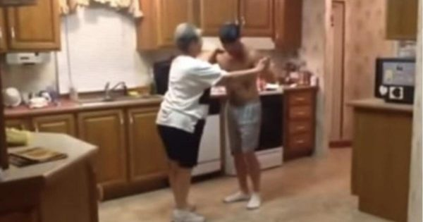 Mom has trouble sleeping at night, grabs son for a late night dance session
