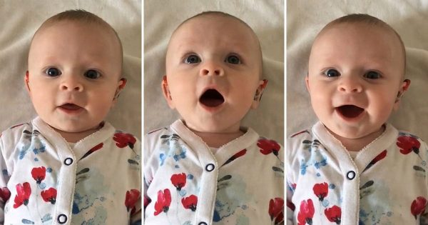 Deaf baby can't contain her joy when mom turns on her hearing aid for first time