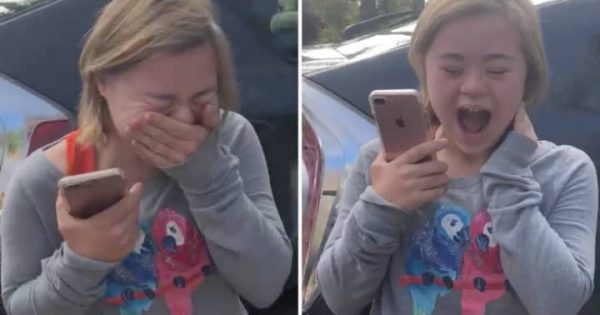 Teen with Down Syndrome breaks down when she gets the call of her first ever job offer