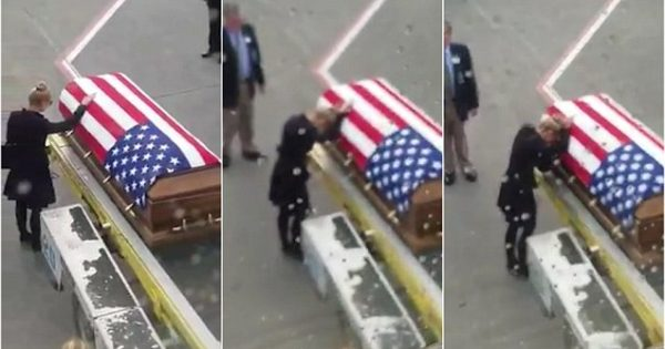 Heartbreaking reunion: Woman escorted from plane to meet Army husband's coffin after he died serving abroad