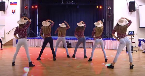 Six cowgirls make dance floor their own with slickest country moves