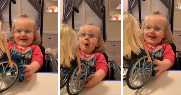 A Girl With a Spina Bifida Lights Up When Someone Gives Her a Barbie That Looks Like Her